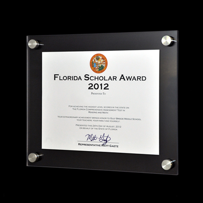 VETRO Modern Acrylic Award Frame - Aluma Designs